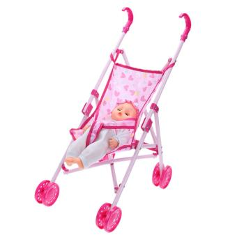 Buggy Stroller Pushchair Foldable Girls Doll Toy(Pink)