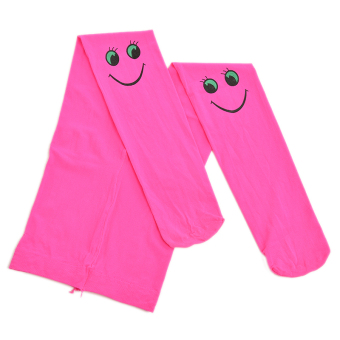 Buytra Autumn Kids Tights Velvet Smiley Pattern Rose