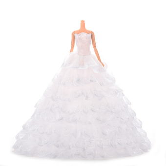 Buytra White Wedding Dresses with Veil For Barbie Princess