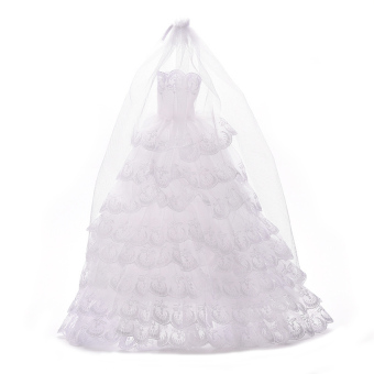 Buytra White Wedding Dresses with Veil For Barbie Princess - picture 2