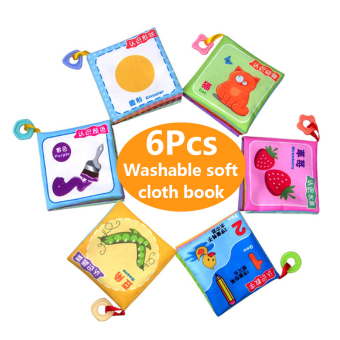 BYL 6 Pcs baby soft cloth book learning educational popheko