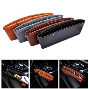 Car Seat PU Leather Console Gap Filler Side Pocket and CatcherOrganizer Interior Accessories Set of 2 - intl