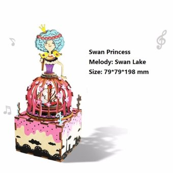 Carousel Music Boxes Wooden DIY Music Box Birthday Gift ( SwanPrincess ) - intl