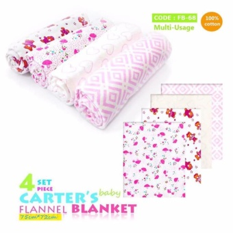 Carter's Receiving Blanket set of 4's design for Baby Girls 100% cotton