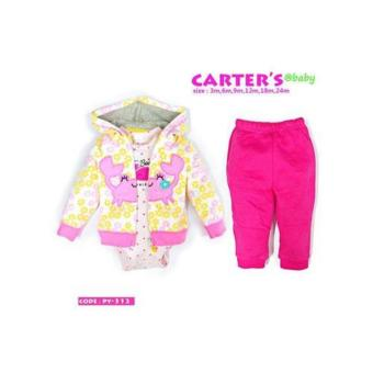 Carter's Baby 3-Piece Cardigan Set (pink)