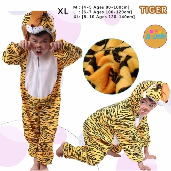 Cartoon Children Kids Animal Costume Cosplay Clothing Dinosaur Tiger Elephant Halloween Costumes Jumpsuit Boy Girl ( Tiger XL : 8 - 10 Ages , 120 cm - 140 cm )
