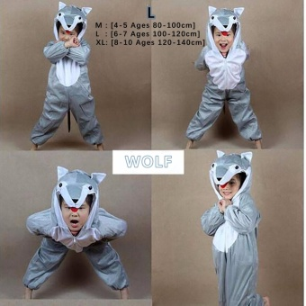 Cartoon Children Kids Animal Costume Cosplay Clothing Dinosaur Tiger Elephant Halloween Costumes Jumpsuit Boy Girl ( WOLF L : 6 - 7 Ages , 100 cm - 120 cm )