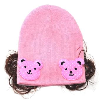 Cartoon Polka Bear Soft Baby Bonnet with Synthetic Hair CuteKnitted Winter Beanie with Curly Hair for Baby Girls Kids