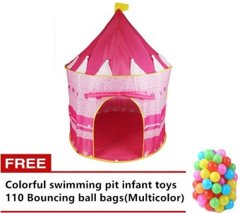 Castle Tent (Pink) with Free 110pcs. Colorful Swimming Pit Bouncingball (Multicolor) Price Philippines