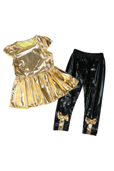 Casual Short Sleeved Suit 2 piece Set (Gold)