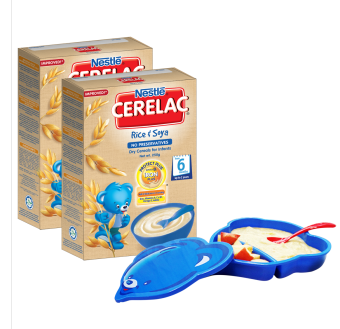 CERELAC Rice & Soya 250g (pack of 2) with Free Feeding Set