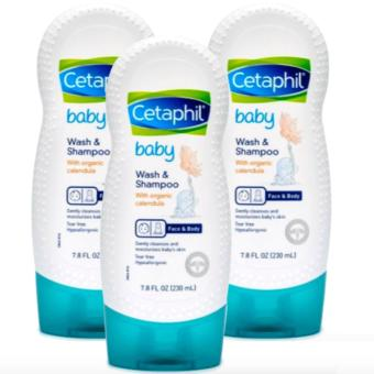 Cetaphil Baby Wash and Shampoo with Organic Calendula (230ml) Set of 3