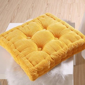 Chair Pad Niblet Thick Corduroy Padded Soft Seat Cushion (Yellow) - intl