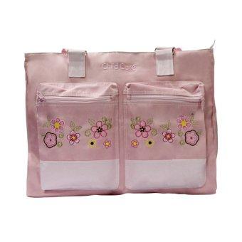 Child Care Nursery Bag - Big Plain with Floral Design (Pink)