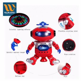 Children Electronic Walking Dancing Smart Space Robot Kids CoolAstronaut Model Music Light Toys (Red)