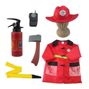Children Fireman Costumes For Halloween Party Kids Cosplay Fireprotection People Cos Clothing Suit For Boys 3-7 Years Old