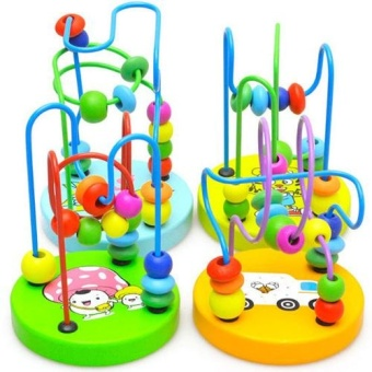 Children Kids Baby Colorful Wooden Mini Around Beads EducationalGame Toy New - intl