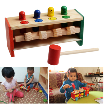 Children's Toddlers Educational Toy Wooden Game Hammering Bench Hammer