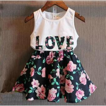 Children's Clothing New Summer Girls Letter Love Flower Vest ShortSkirt Set Kids Clothes Suit - intl