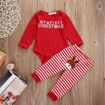 Christmas Baby Boys Girl Bodysuit Romper + Deer Pants Outfit Set