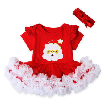 acabe065a8fc Christmas Newborn Infant Baby Girls Short Sleeve Romper Headband -intl