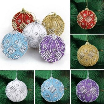 Christmas Rhinestone Glitter Baubles Balls Xmas Tree Ornament Decoration 8CM Gold - intl