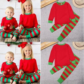 Christmas XMAS Kids Adult Family Pajamas Set Long Sleeve Top andStriped Pants Sleepwear Lounge Nightwear - intl