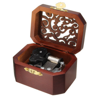 CLASSIC OCTAGON WOOD WIND UP MUSIC BOX:CASTLE IN THE SKY - 2