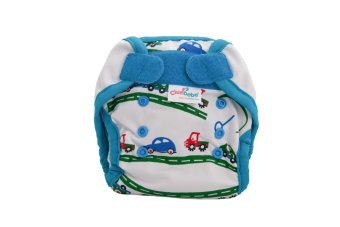 Cluebebe White Car Reusable Pocket Diaper