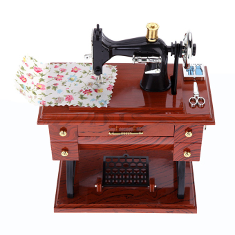 Cocotina Treadle Sewing Machine Shape Mechanical Music Box Brown - picture 2