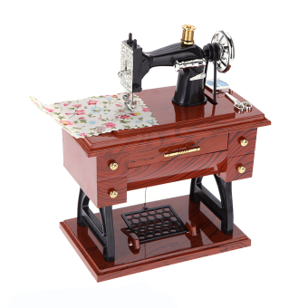 Cocotina Treadle Sewing Machine Shape Mechanical Music Box Brown