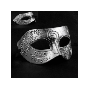 Cool Adult Men Greek Roman Fighter Masquerade Face Mask for FancyDress Ball /Masked Ball /Halloween (Silver) - intl