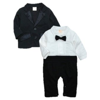 Cool Elves Baby Gentleman Tuxedo Baptismal Romper with Suit/Coat