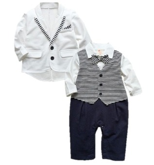 Cool Elves Baby Gentleman Tuxedo Baptismal Romper with Suit/Coat (White)