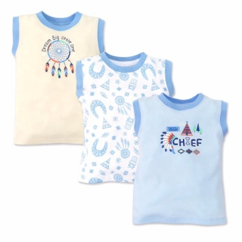 Cotton Stuff - 3-piece Muscle Shirt (Little Chief) 3-6 Months