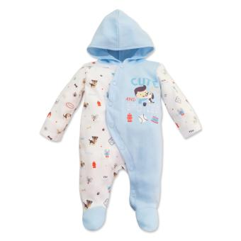 Cotton Stuff - Long Sleeve Sleeper with Hood - (Who Let The Dogs Out) 0-3 Months