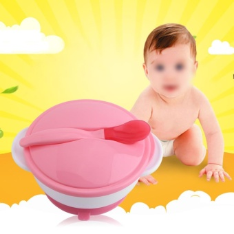 Creative Infants Baby Suction Cup Bowl With Spoon Kids Food FeedingTableware (#1Red Thermal Spoon+Pink Bowl) - intl