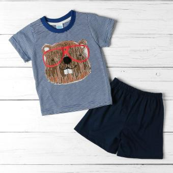 Crib Couture Baby Boys Hamster Tee and Shorts Set (Blue)