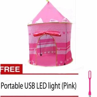 Cubby House Tent for Kids (Pink) With Free Portable LED light(Pink)
