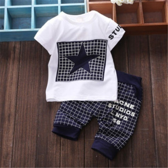 Cute Baby Boy Kid Short Sleeve STAR Sportswear Clothes T-shirt Top Short Pants Outfit(Navy blue)