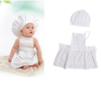 Cute Baby Cook Costume Photo Photography Prop Newborn Infant HatApron Chef Clothes DIY Funning Booth Props for Kids - intl