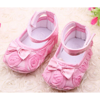 Cute Baby Girls Rose and Bowknot Prewalkers Shoes Pink