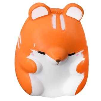 Cute Kawaii Soft Squishy Colorful Simulation Hamster Toy SlowRising for Children Adults Relieves Stress Anxiety Home DecorationSample Model Orange - intl