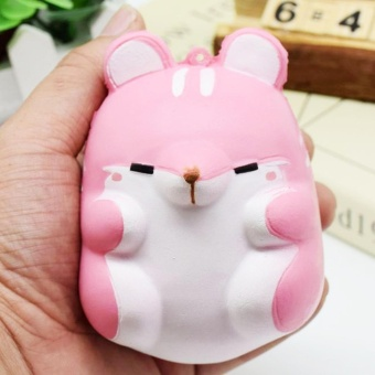 Cute Kawaii Soft Squishy Colorful Simulation Hamster Toy SlowRising for Children Adults Relieves Stress Anxiety Home DecorationSample Model Pink - intl - 2
