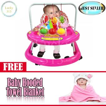 Cute Musical Baby Walker Pink with Baby Hooded Towel Pink