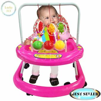 Cute Musical Baby Walker Soft Cushion Pink