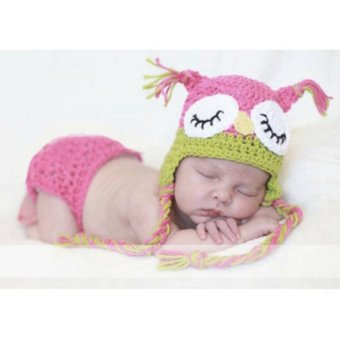 Cute Owl Style Baby Infant Newborn Hand Knitted Crochet Hat CostumeBaby Photograph Props Set