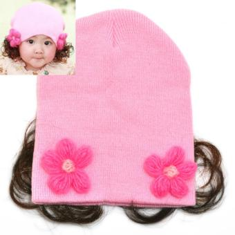 Cute Soft Baby Flower Bonnet with Synthetic Hair Baby Girl KidsWinter Beanie with Curly Hair - 2