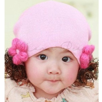 Cute Soft Baby Flower Bonnet with Synthetic Hair Baby Girl KidsWinter Beanie with Curly Hair