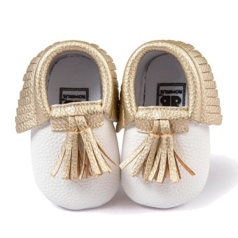 Cute Tassel Style Infant Baby Toddlers Kids Shoes with Soft SoleUnisex for Baby Girls Boys PU Shoe Upper White + Gold Size 13 FitsBabies Aged 12 to 18 Months - intl